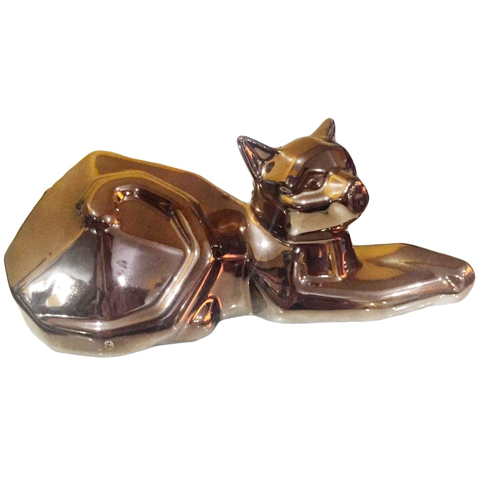Decor Gato Deitado Bronze