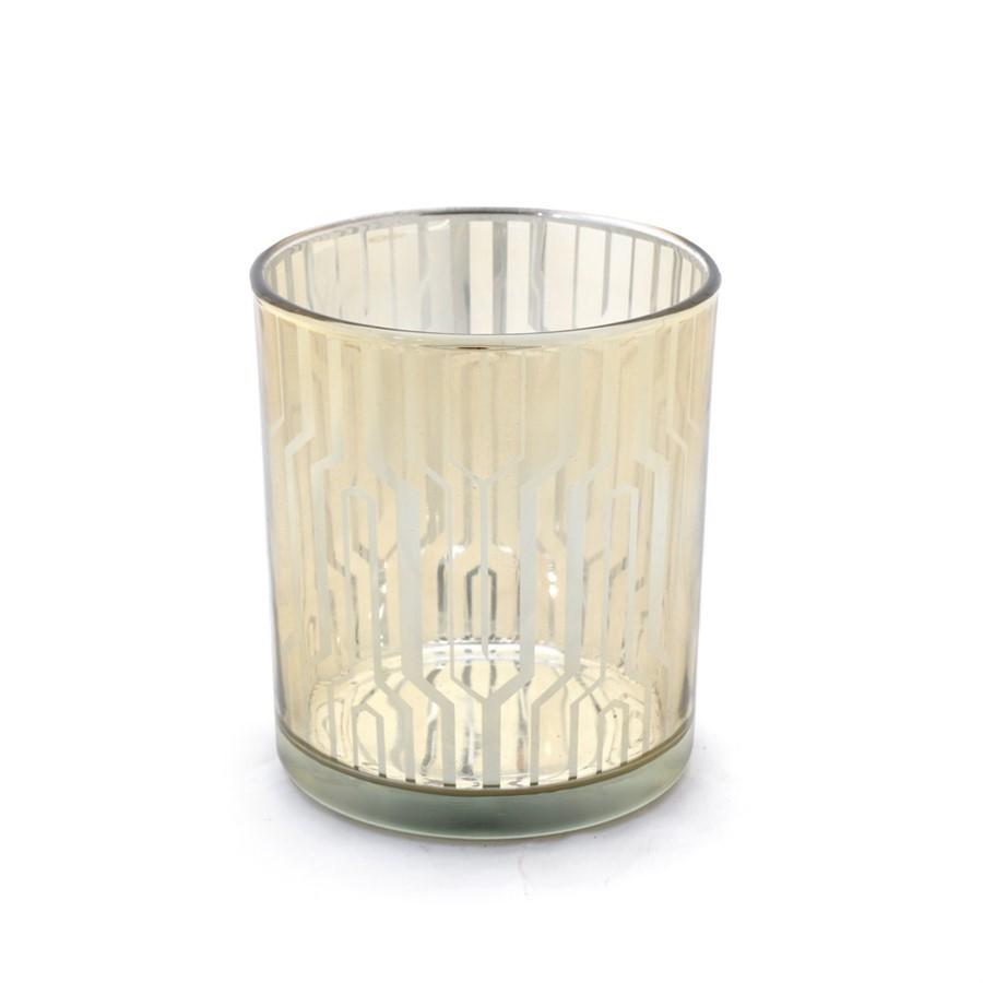 Porta velas em vidro dourado 10cm x 9cm