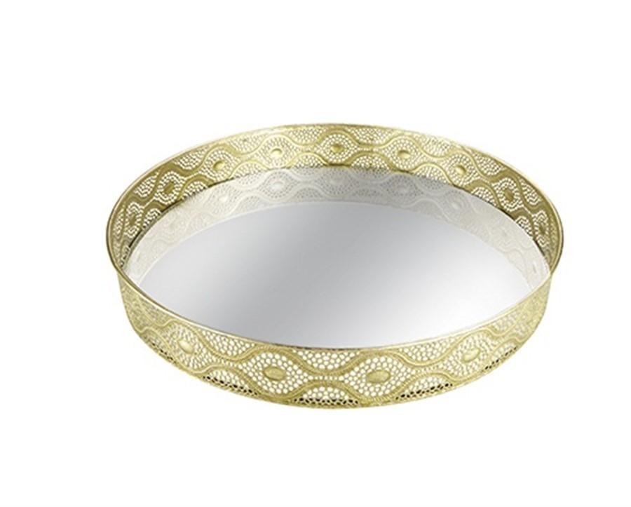 Bandeja Triangulos Dourada Metal C/ Espelho 45 CM