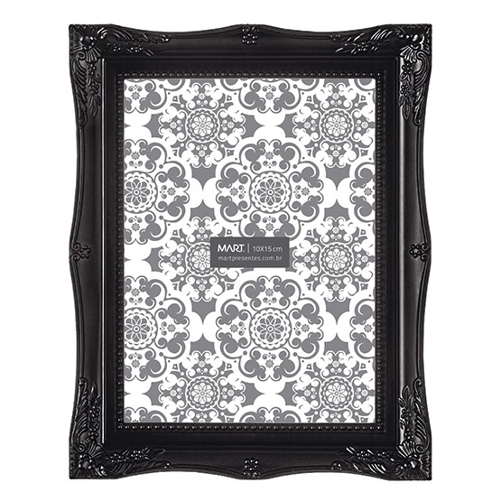 Porta Retrato Preto Retrô 20x25cm