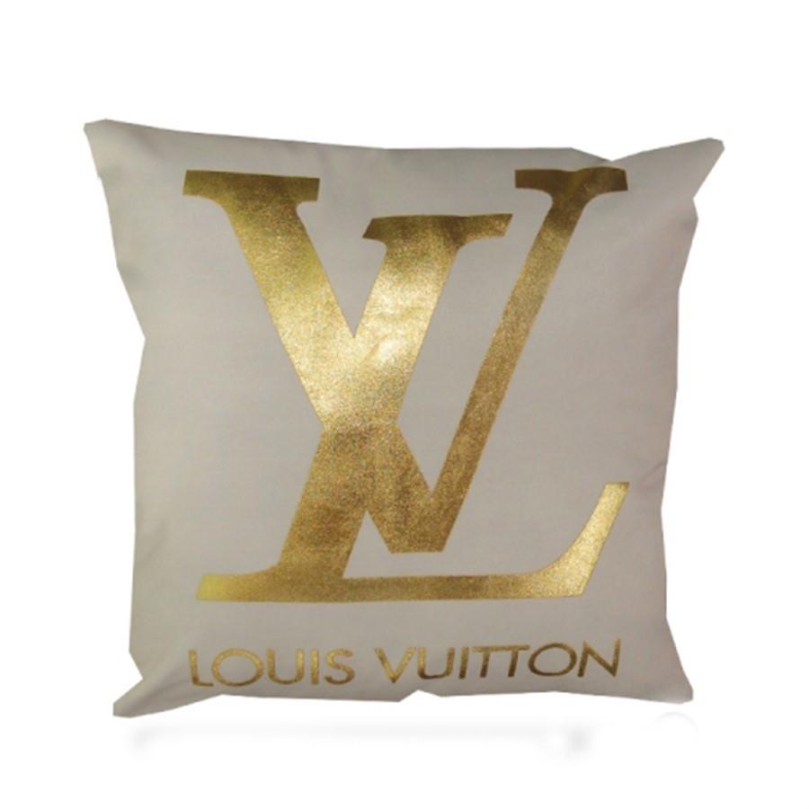 Almofada Louis Voitto Branca e Dourada 43cm