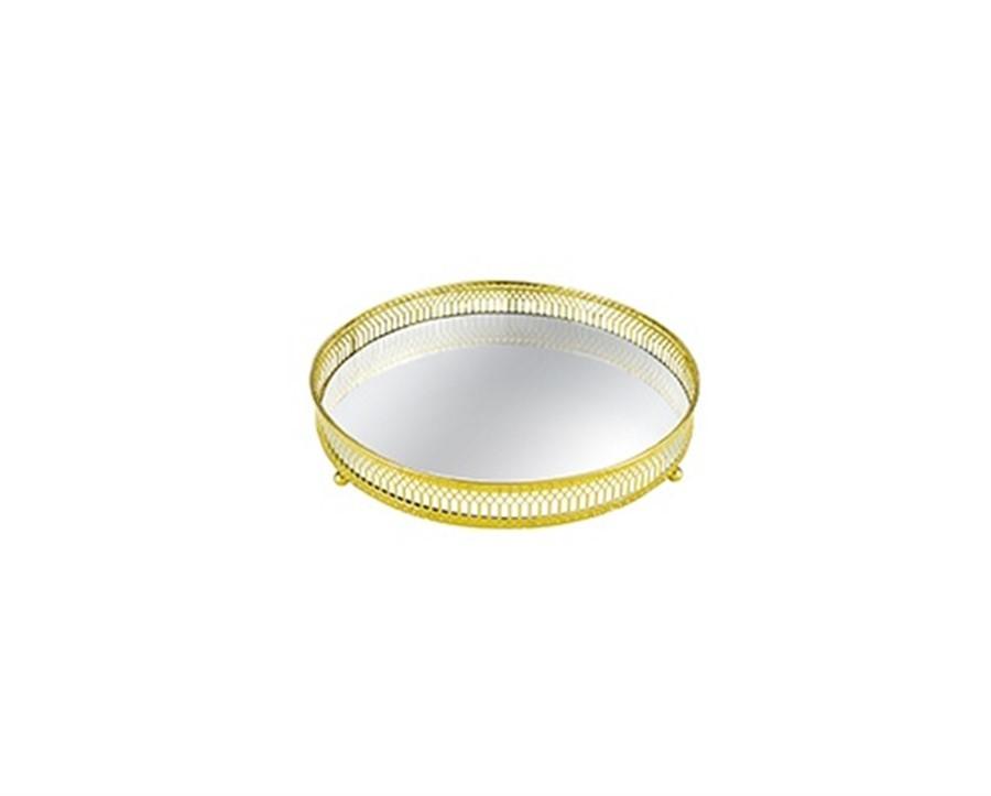 Bandeja Lisa Metal Dourada C/ Espelho 20 CM