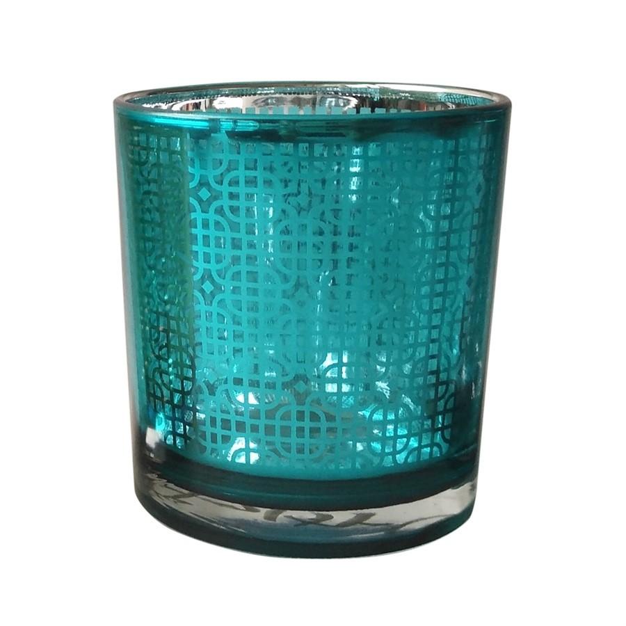 Castiçal de vidro azul 7,3cm x 8cm