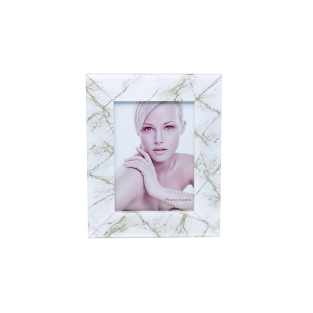 Porta Retrato Vidro Mármore Branco e Verde 13x18cm