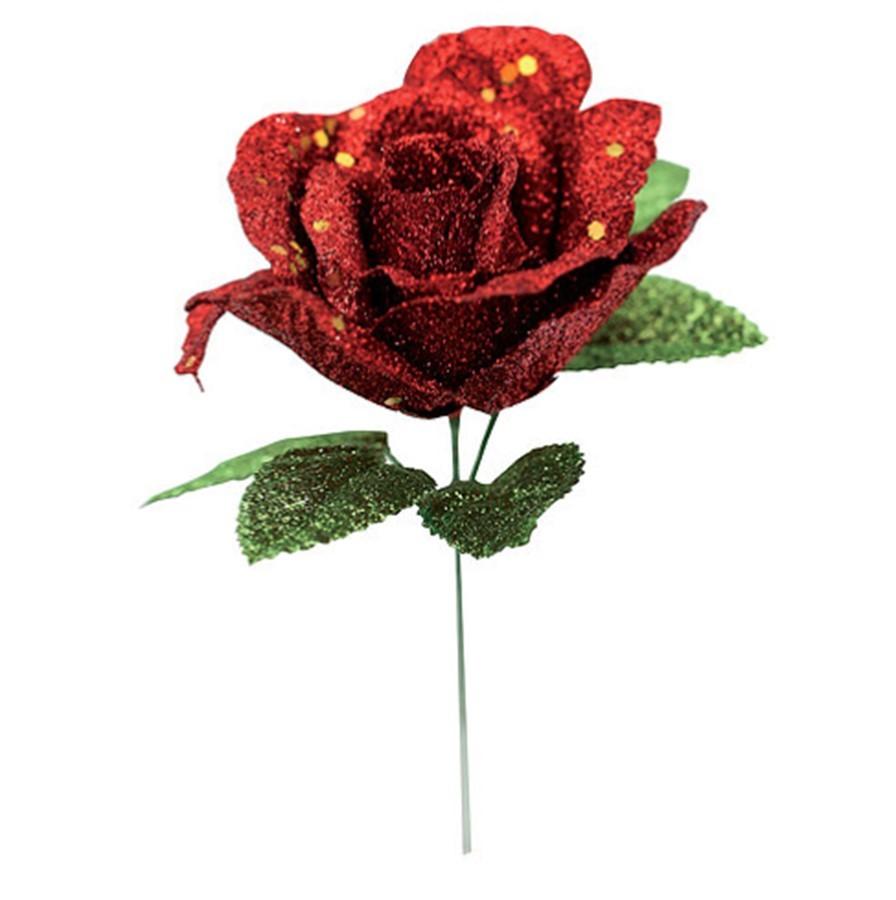Rosa Gliter Vermelha Folhas