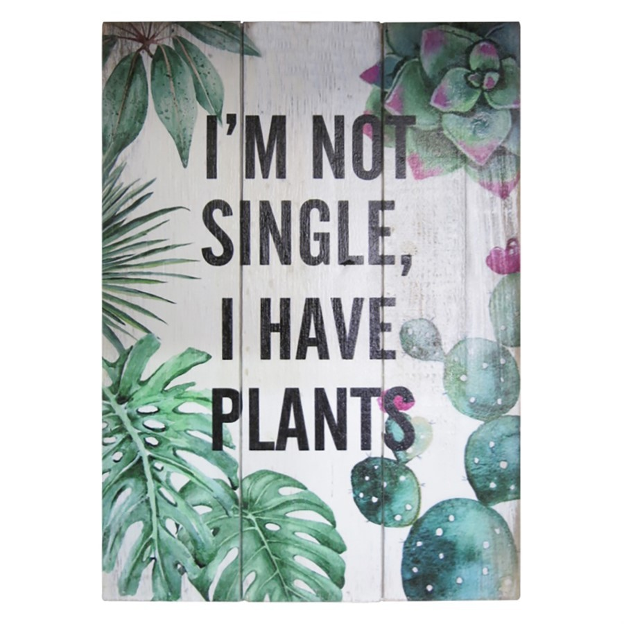 "Quadro madeira ""I'm single, i have plants"""