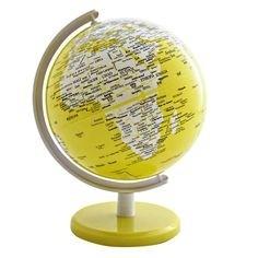 Globo Mapa Mundi Amarelo 34cm