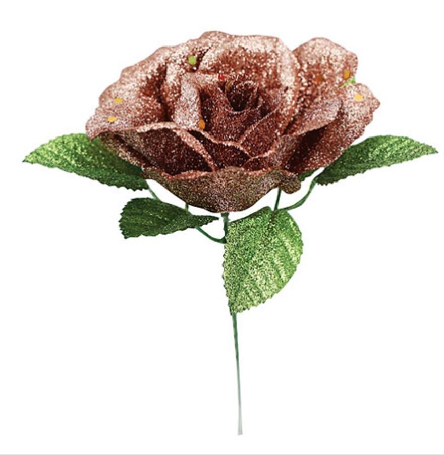 Rosa Gliter Rosê Dourada Folhas