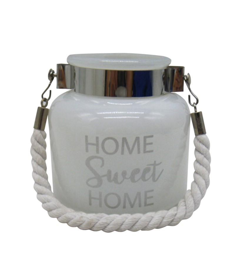 Castiçal vidro home sweet home 12cm x 12cm