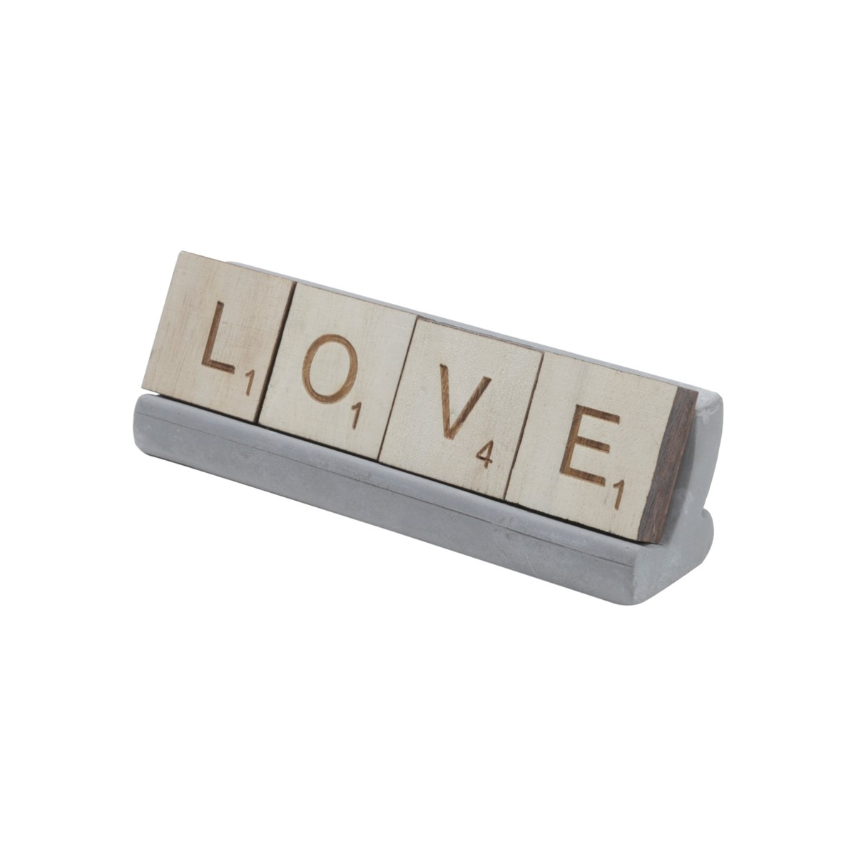Letreiro C/Base Concreto - Love 16x5cm