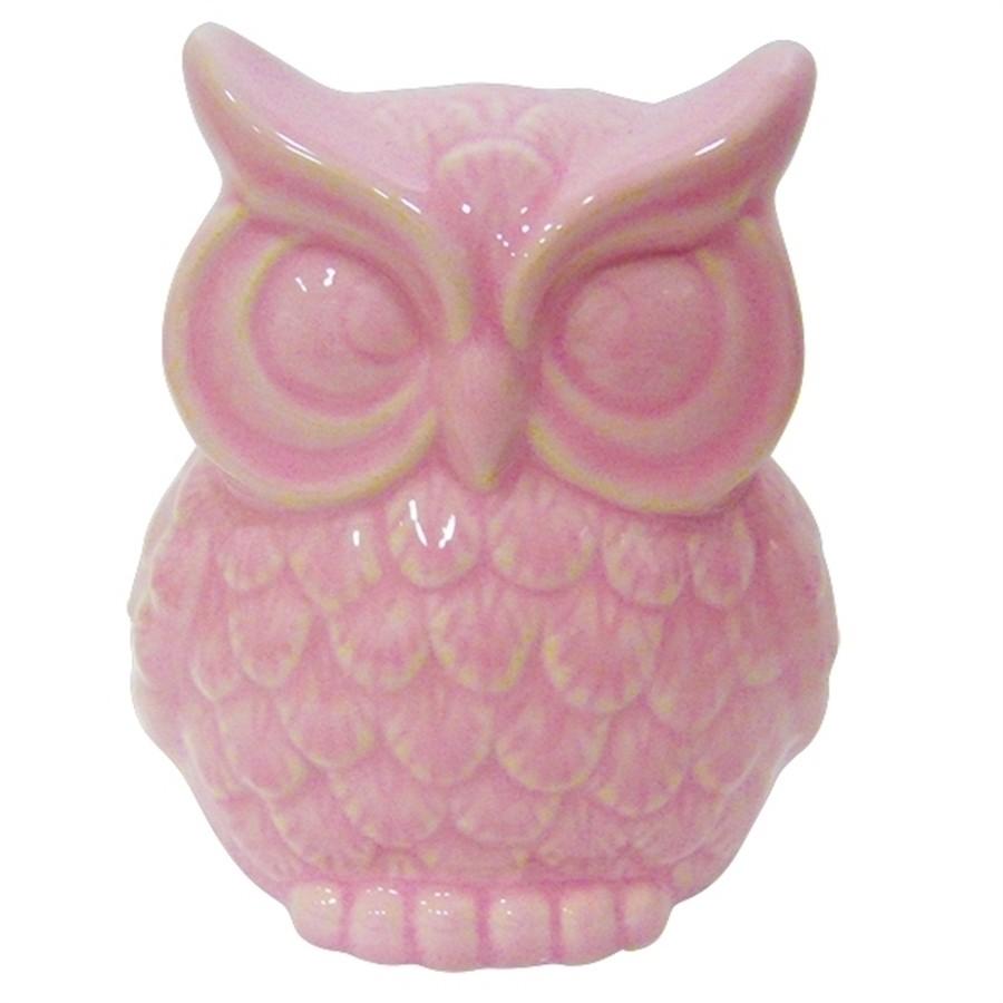 Coruja Cerâmica Rosa Grande