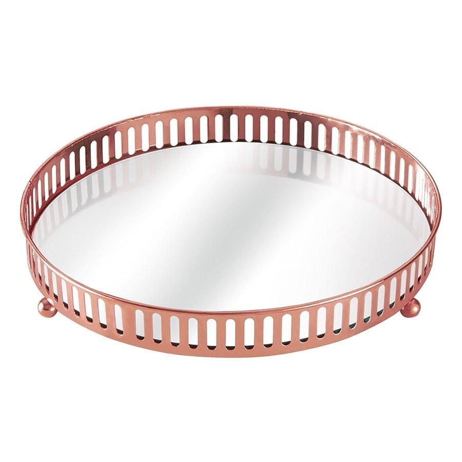 Bandeja Cobre  Metal C/Espelho 20cm