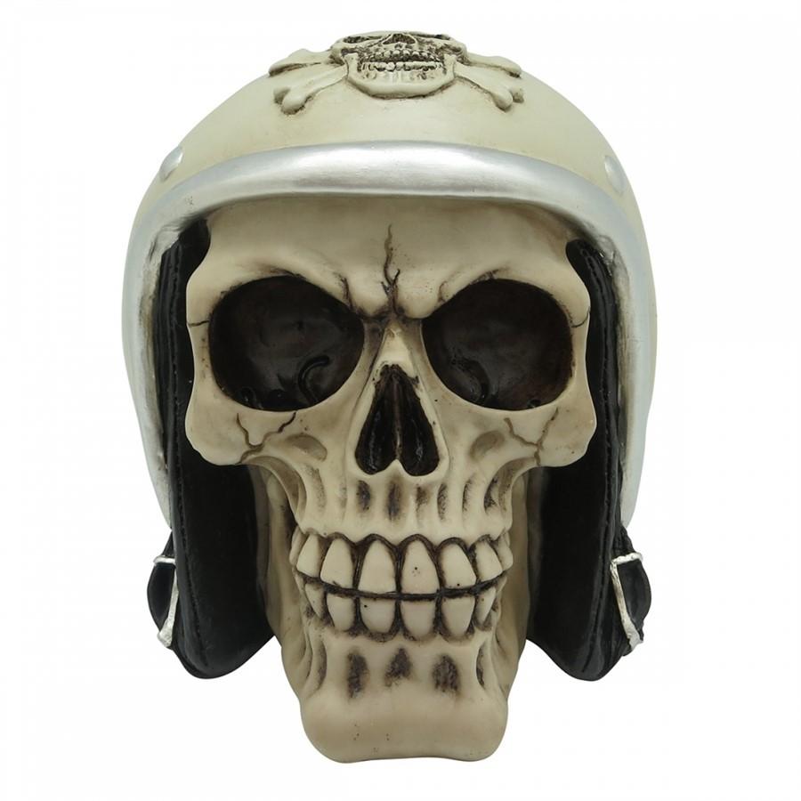 Caveira capacete motociclista