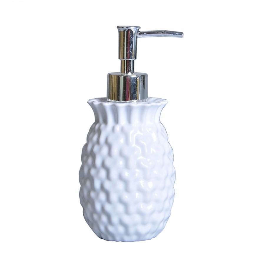 Porta Sabonete Liquido de Cerâmica Branco