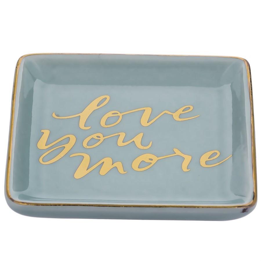 Porta Jóias Cerâmica Azul Love