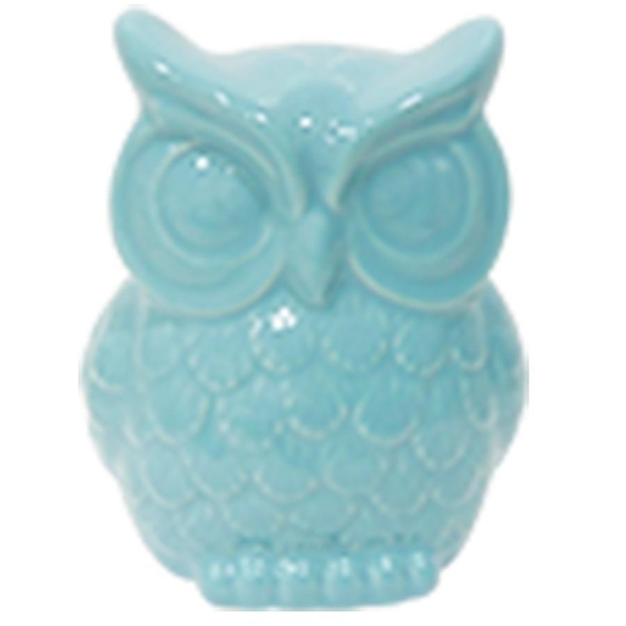 Coruja Cerâmica Azul Grande