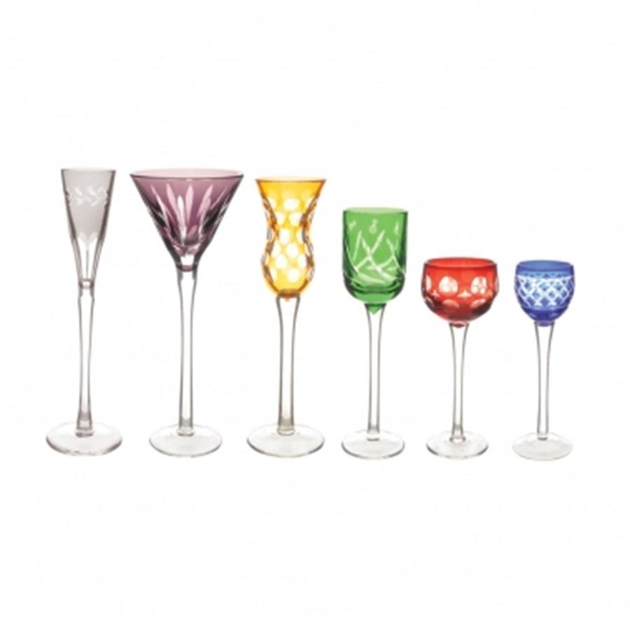 Jogo Taças Cristal Lapidado Colorido 6pçs