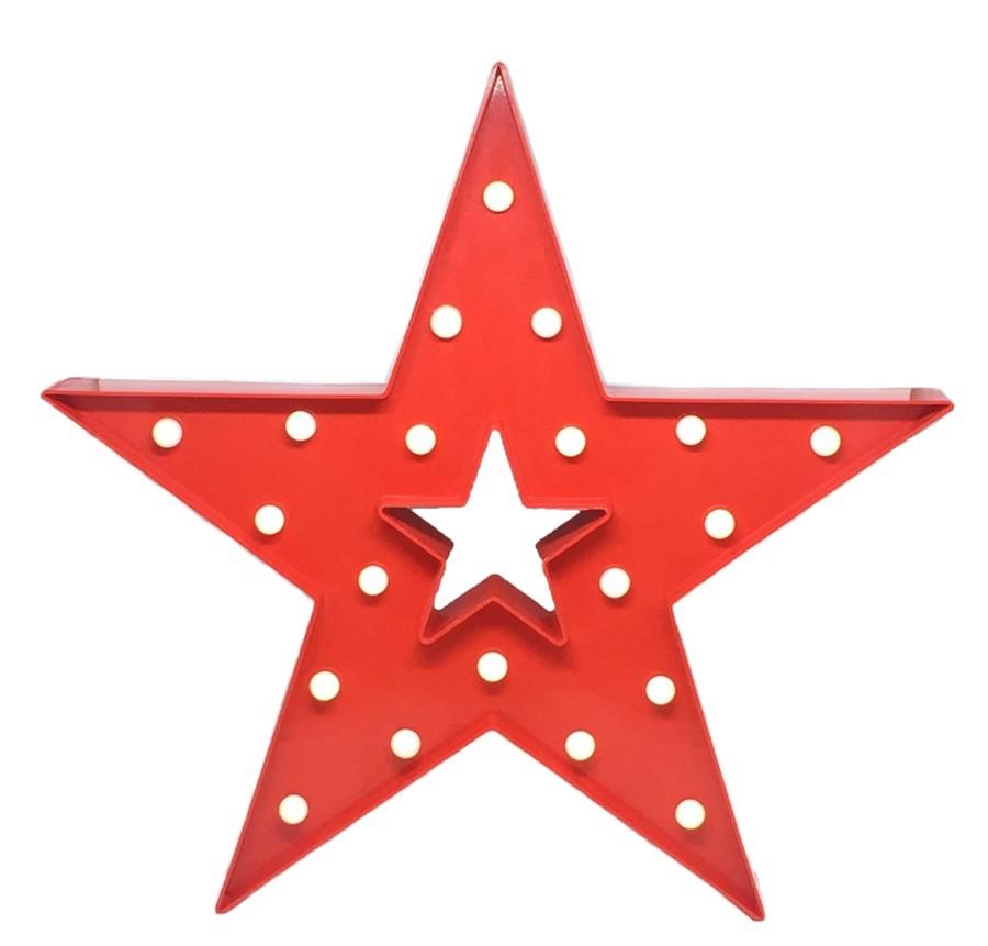Luminária Estrela Vazada Vermelha