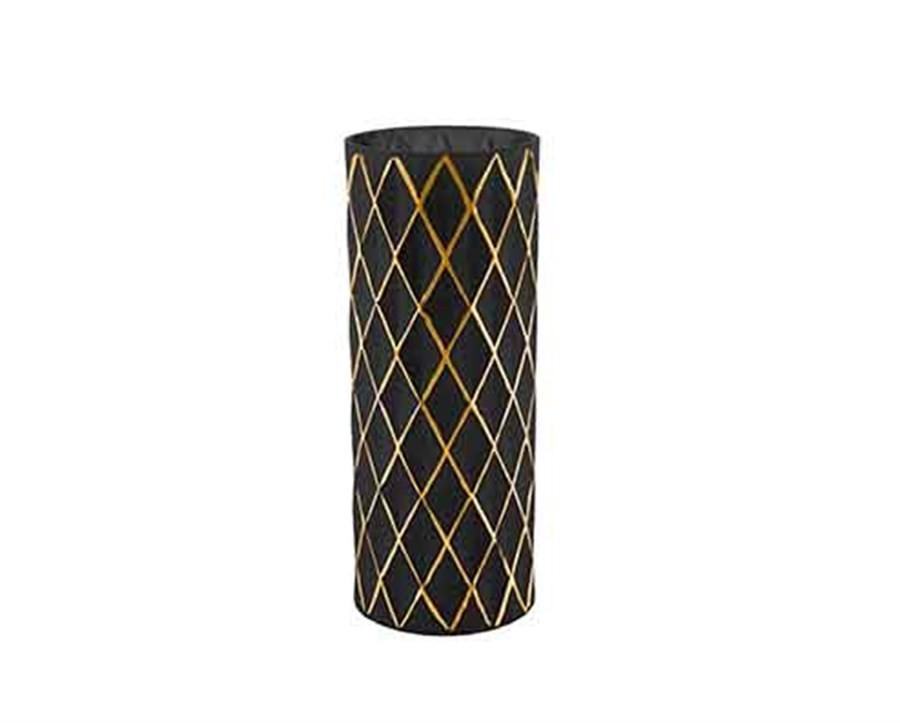 Vaso de Vidro Preto com Dourado I