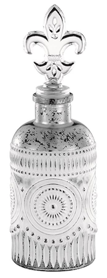 Perfumeiro Vidro Prata Flor de Liz