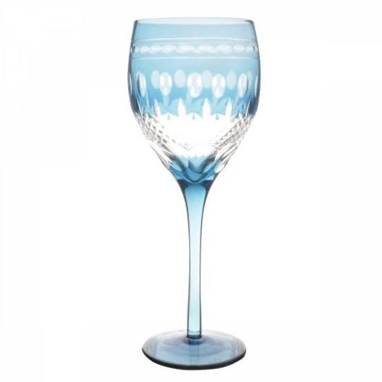 Taça de Cristal Coloridas Para Água - Azul