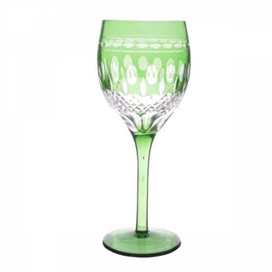 Taça de Cristal Coloridas Para Vinho - Verde