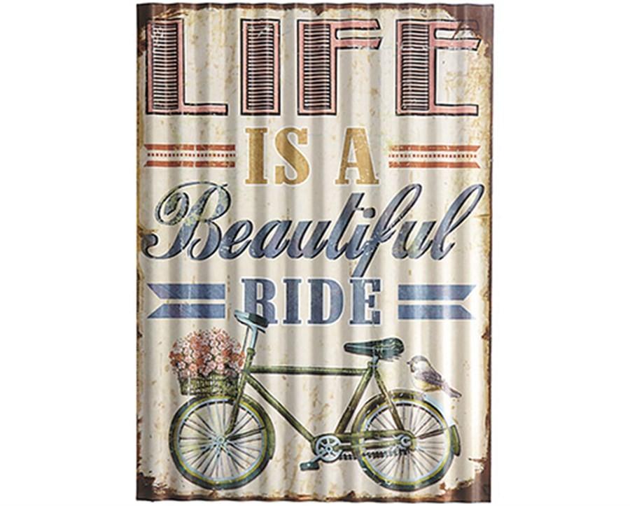 Placa Decorativa de Metal Bicicleta Flores