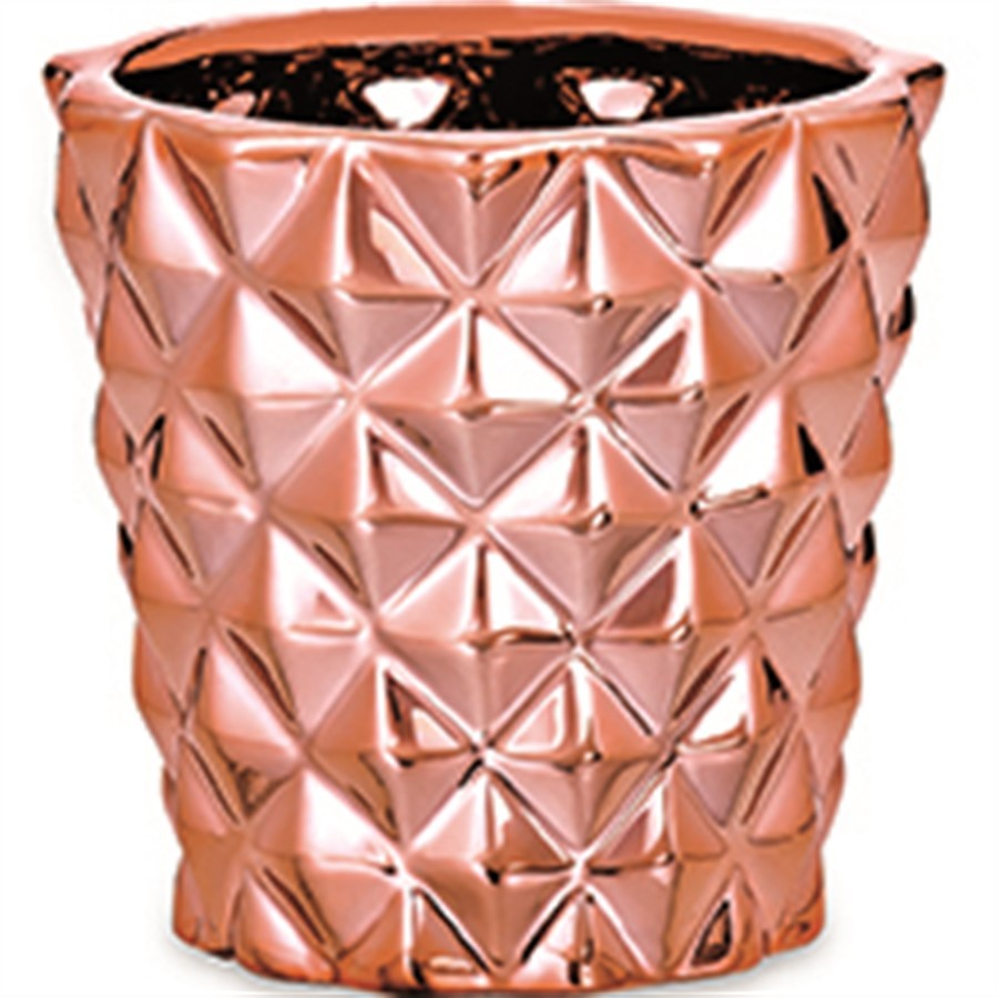 Cachepot Cerâmica Rose Gold Quadriculado 7x8cm