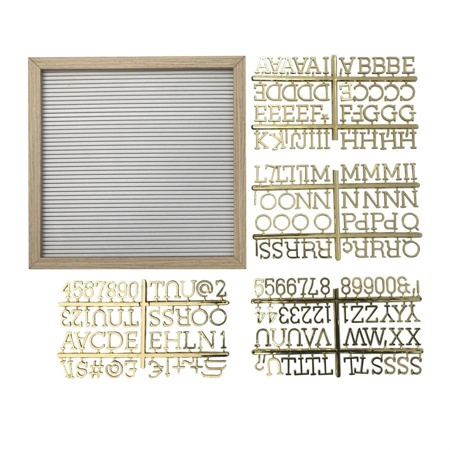 Mural Madeira Branco C/Letras Douradas 30 x 30cm