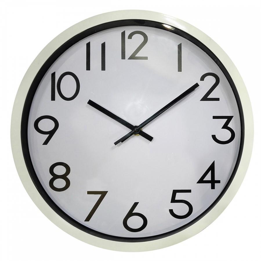 Relógio de Parede de Plástico Branco 25 cm