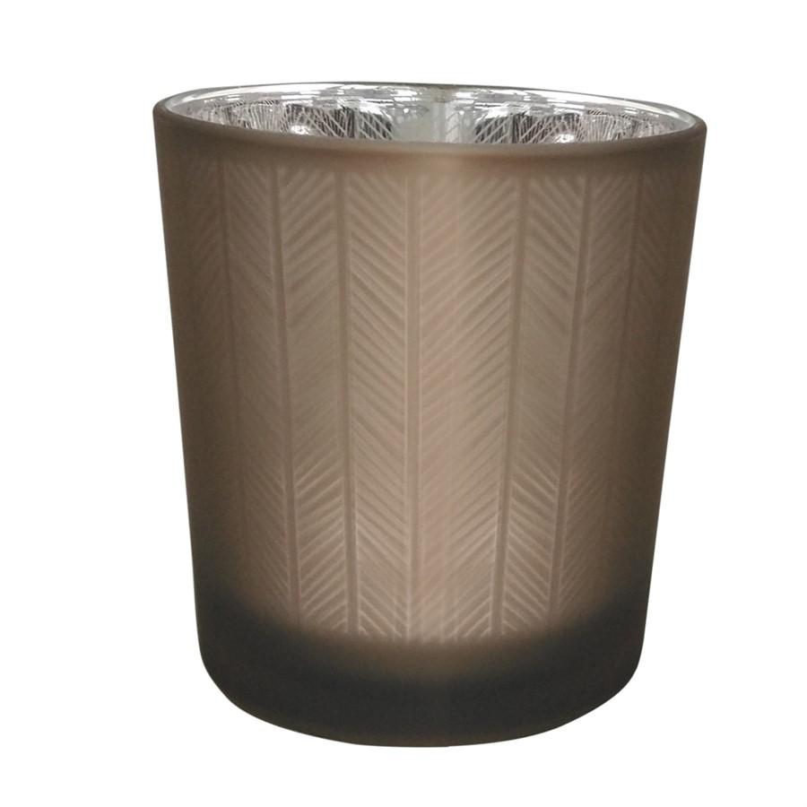 Castiçal de vidro marrom 7,3cm x 8cm