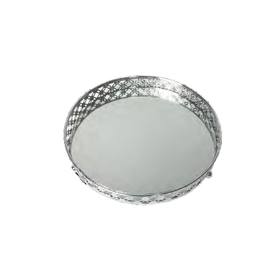 Bandeja Metal C/Espelho Edge G 25 CM
