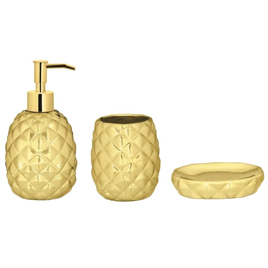 Kit Banheiro Abacaxi Dourado