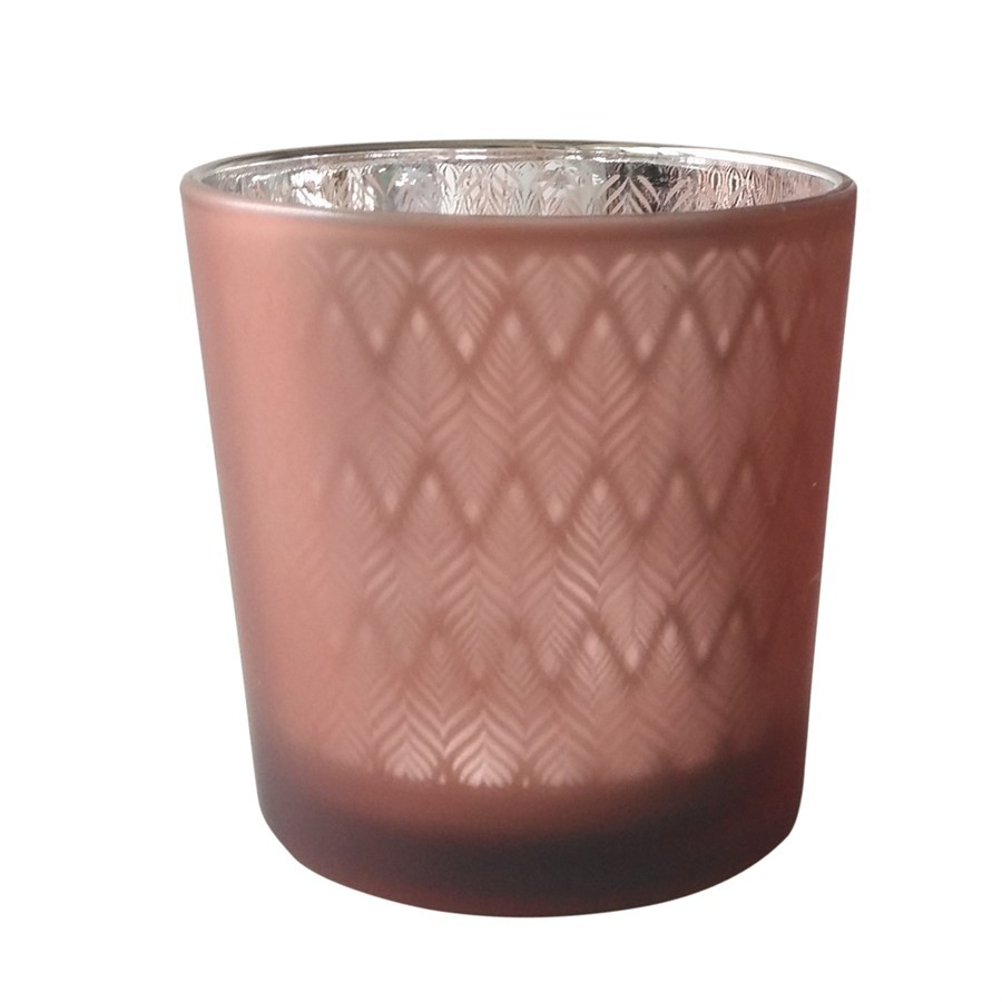 Castiçal de vidro rosa 7,3cm x 8cm