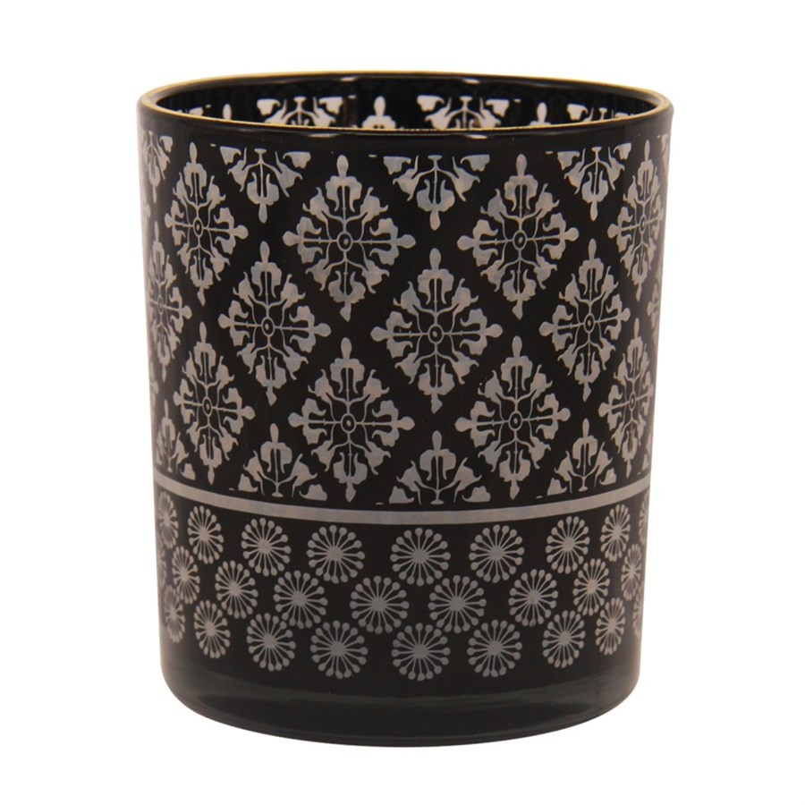 Castiçal estampado de vidro preto 8cm