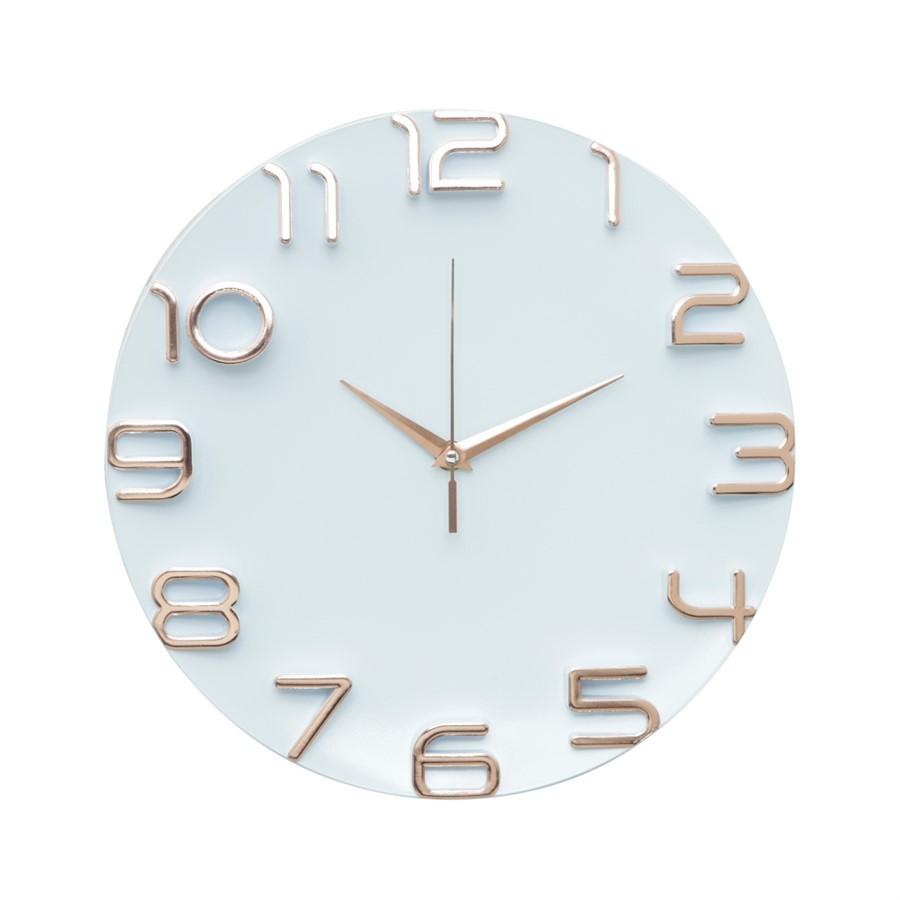 Relógio Branco e Cobre 30cm