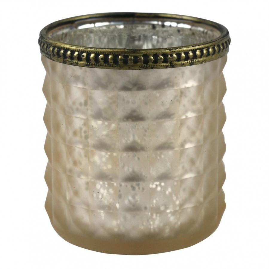 Castiçal Vidro Bege C/Dourado 8x9cm