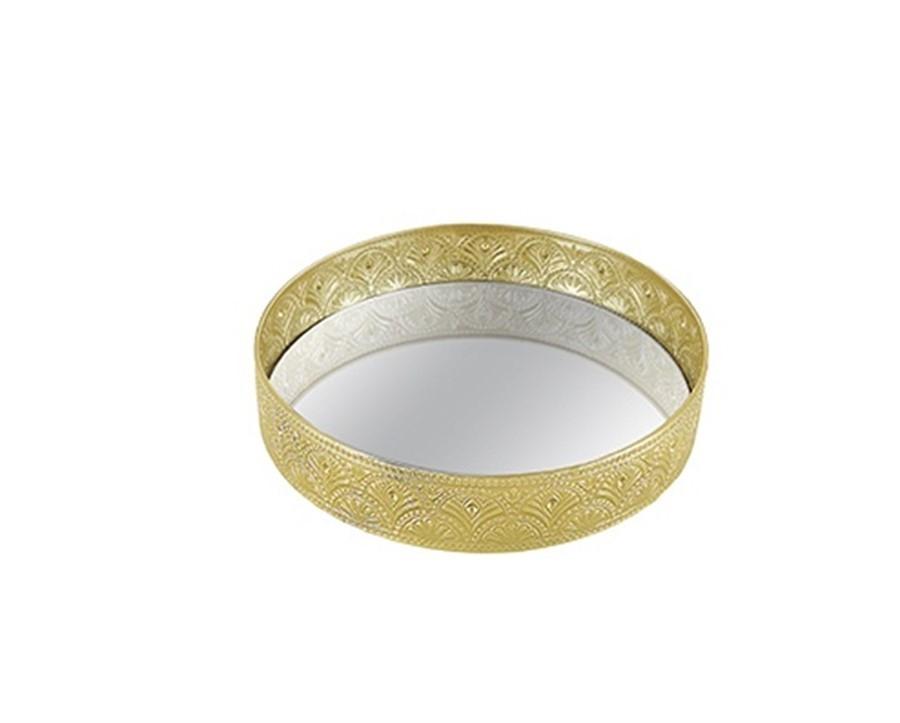 Bandeja Flower Dourada Metal C/ Espelho 25 CM