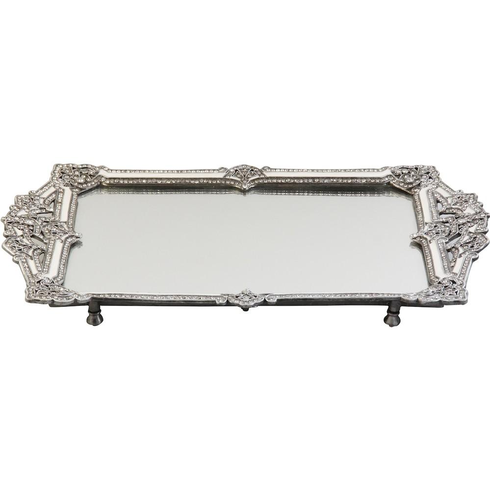 bandeja espelhada Retangular Com Cristal