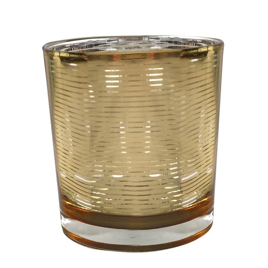 Castiçal de vidro dourado