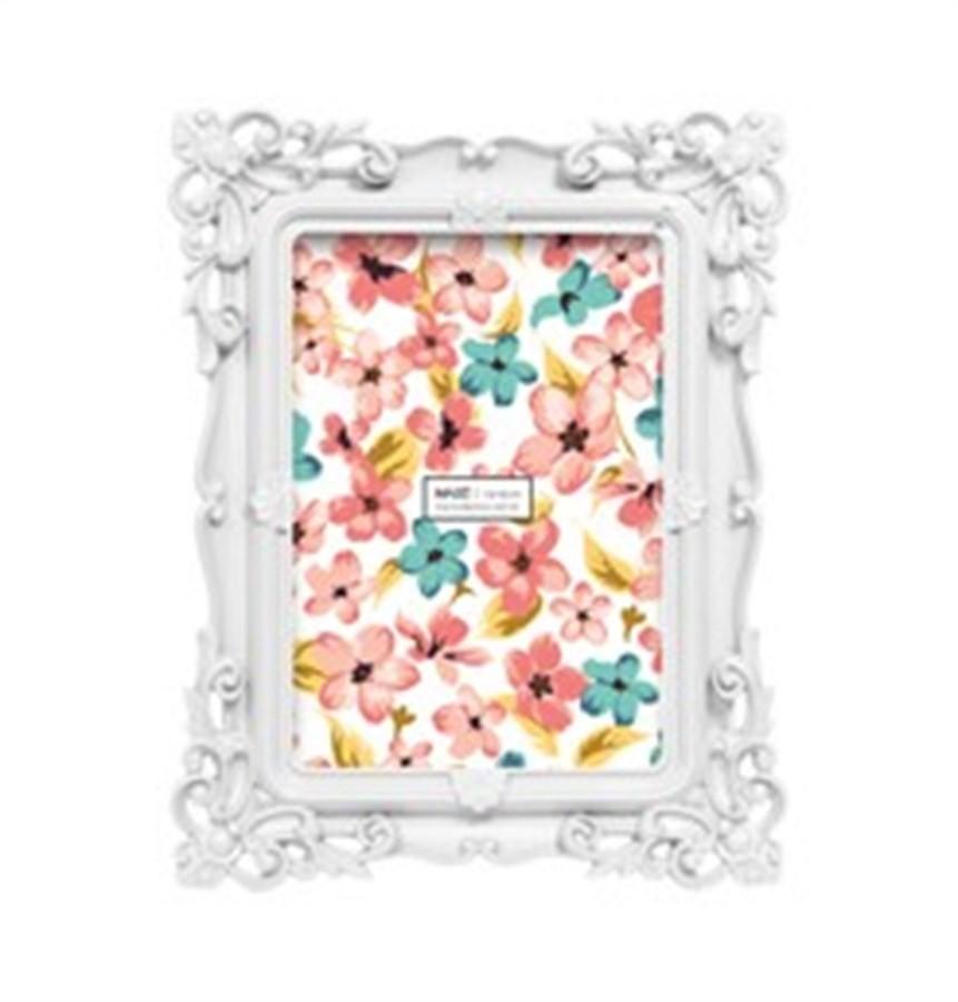 Porta Retrato Rococó Branco 13x18cm