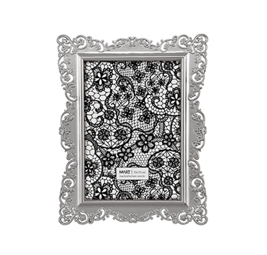 Porta Retrato Renda Prata 10x15cm