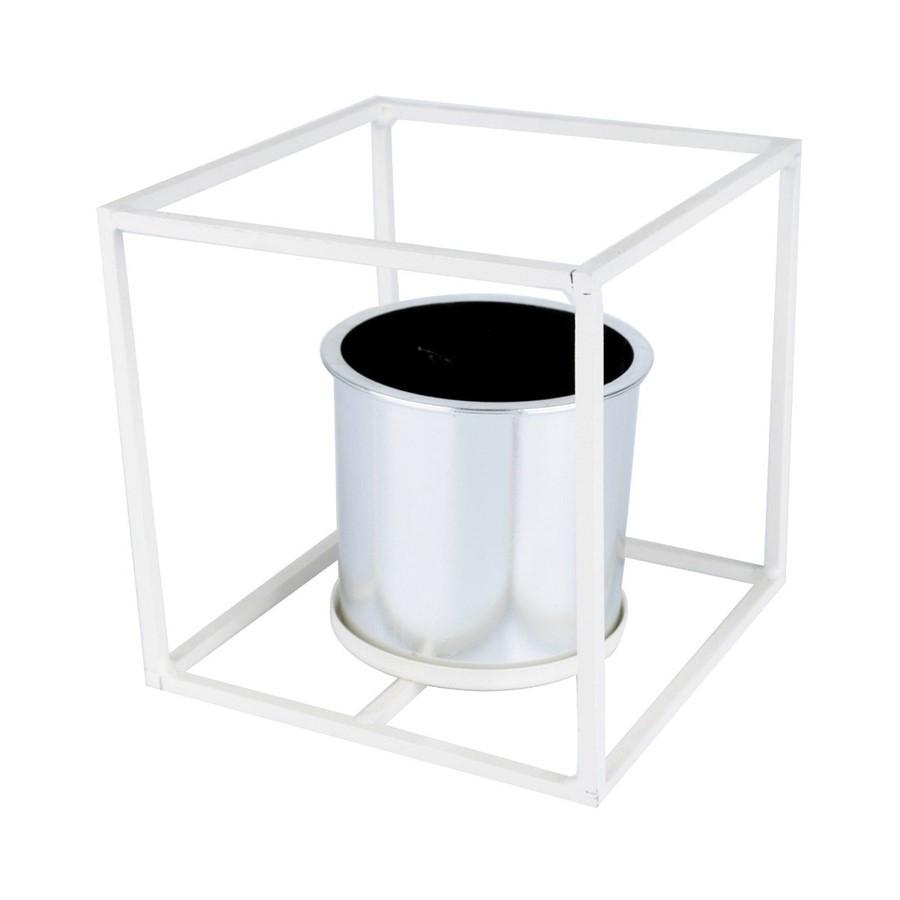 Vaso metal C/Base Quadrada Branca 17x17cm