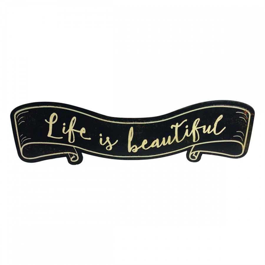 "Placa Decorativa ""Life is Beautiful"" Preto"