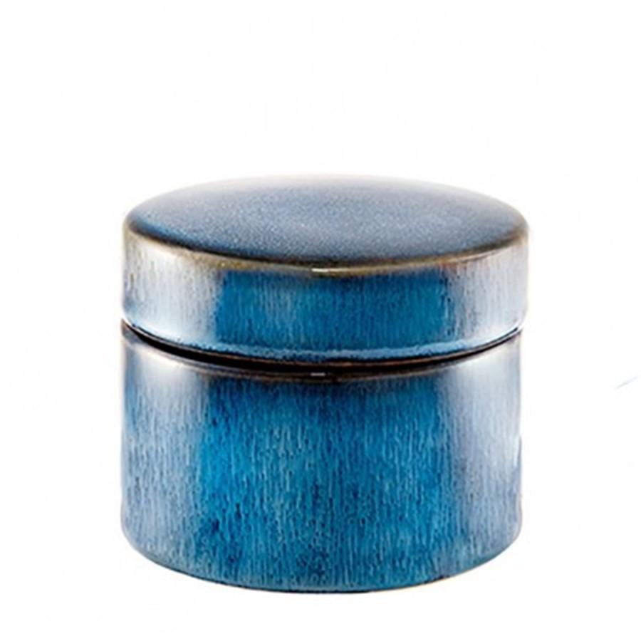 Pote Redondo Azul de Cerâmica