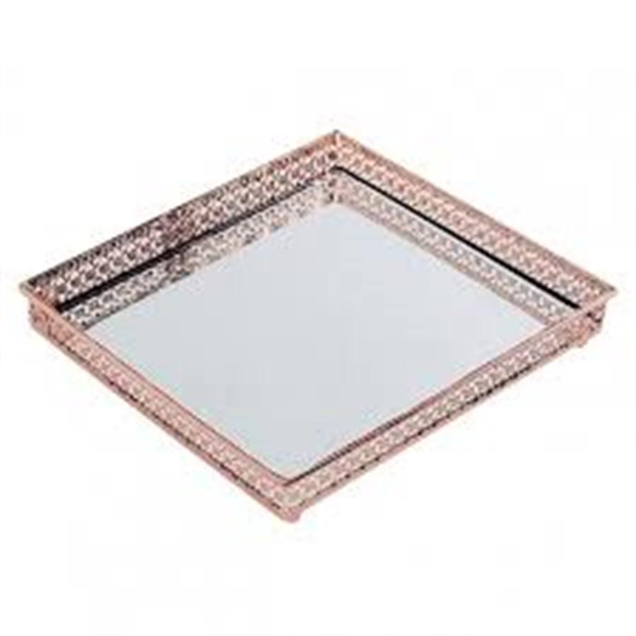 Bandeja de Metal Espelhada Quadrada Bronze 16 x 16cm