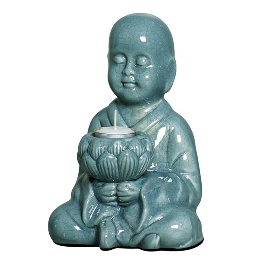 Buddha Sentado Azul C/Porta Vela