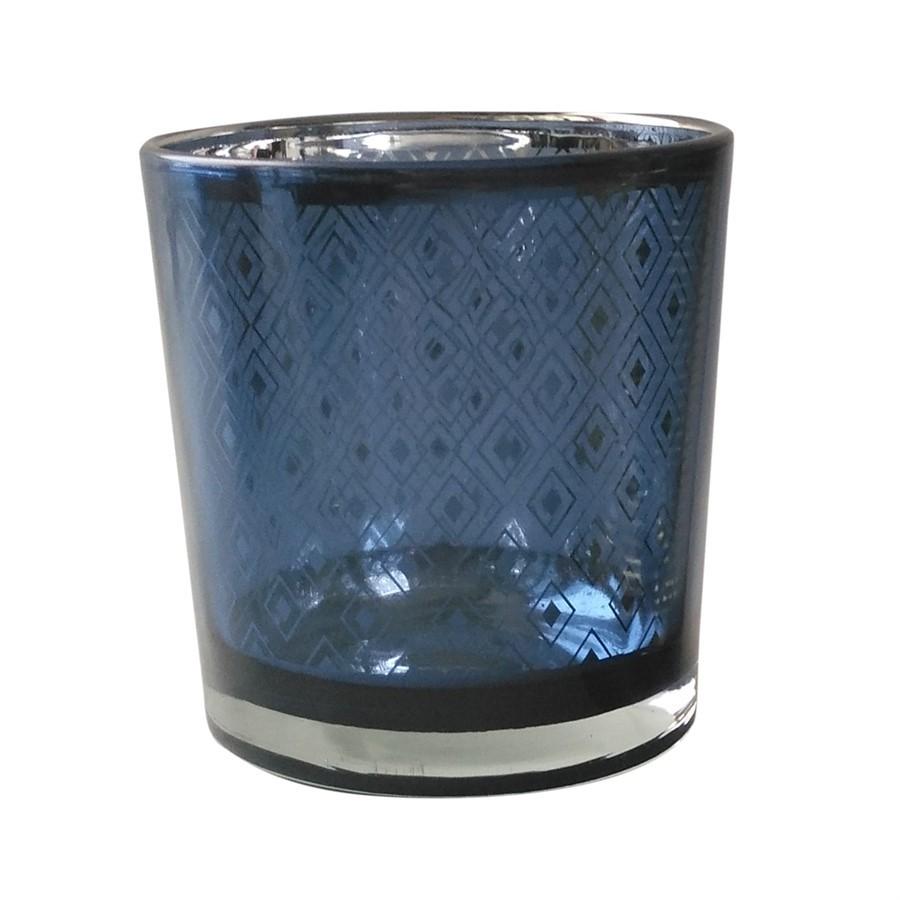 Castiçal de vidro azul índigo 7,3cm x 8cm