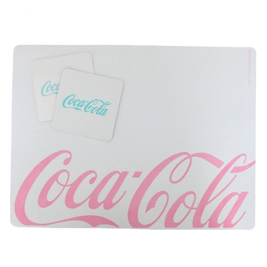 Set Jogo Americano e Porta Copos 4 pç Coca Cola Branco