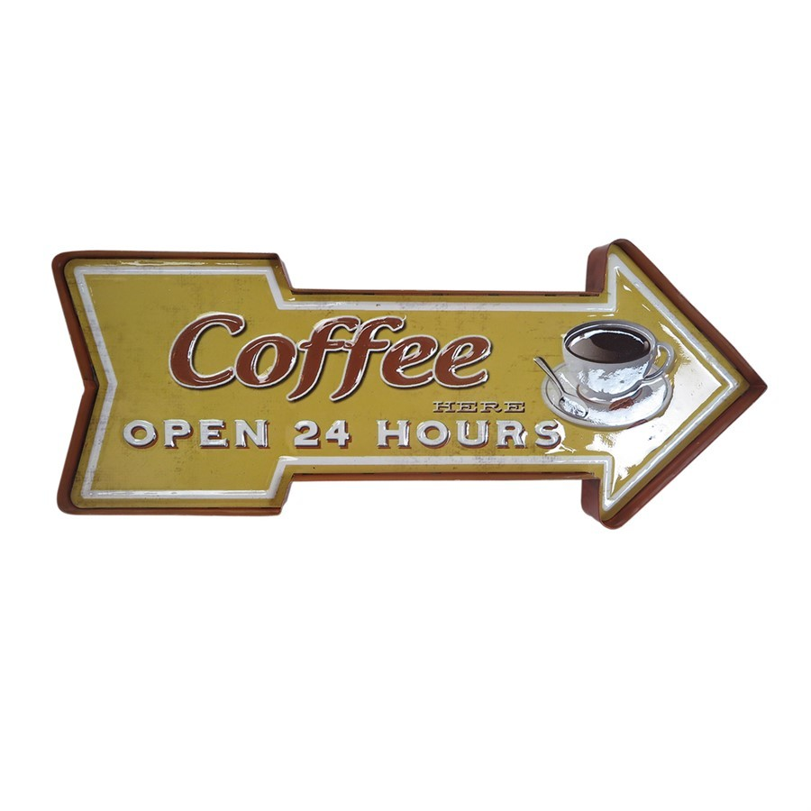 "Placa de ferro ""Coffee Open"""